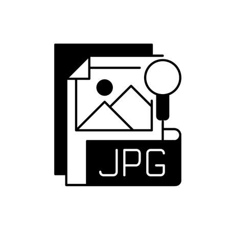 JPG file black linear icon. Compressed image format. Digital images. JPEG. Lossless coding mode. Standardized lossy compression mechanism. Outline symbol on white space. Vector isolated illustration 矢量图像