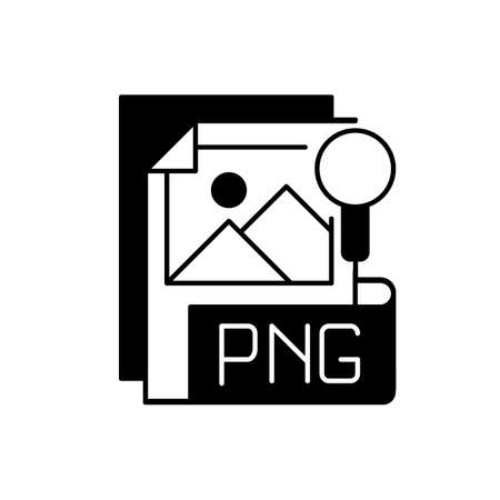 PNG file black linear icon. Portable graphics format. Palette-based, grayscale images support. Lossless data compression format. Outline symbol on white space. Vector isolated illustration 矢量图像