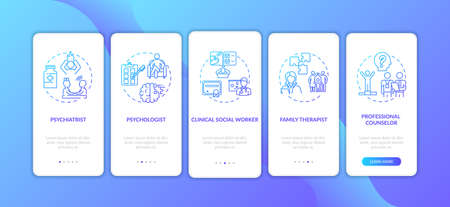 Psychotherapy careers onboarding mobile app page screen with concepts. Social worker, family therapist walkthrough 5 steps graphic instructions. UI vector template with RGB color illustrations
