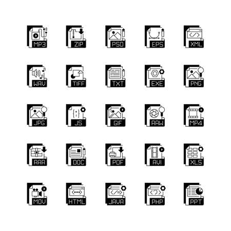 File extensions black linear icons set. Different types. Text, audio, video, compression, executable files. Storing and transport data. Glyph contour symbols. Vector isolated outline illustrations