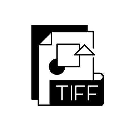 TIFF file black linear icon. Tagged image file format. TIF. Lossless compression. Image integrity and clarity. Professional photography. Outline symbol on white space. Vector isolated illustration 矢量图像