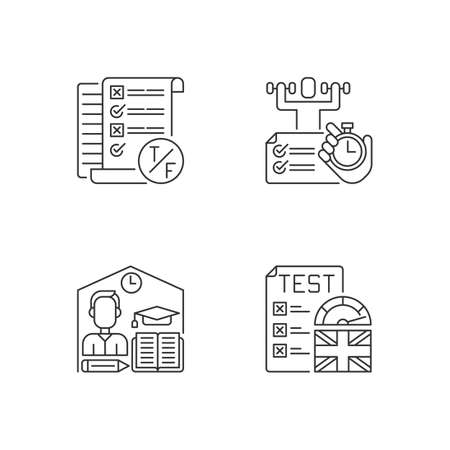 True false test pixel perfect linear icons set. Placement exam. Physical skills testing. Examination. Customizable thin line contour symbols. Isolated vector outline illustrations. Editable stroke