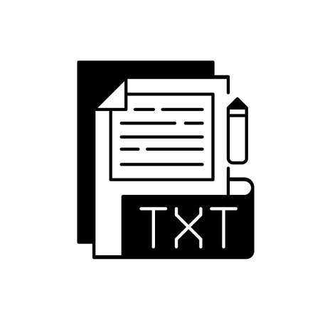TXT file black linear icon. File extension. Simple text editors. Information storing. Plain text without special formatting. Outline symbol on white space. Vector isolated illustration 矢量图像