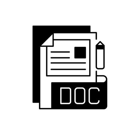 DOC file black linear icon. Document file format. Word processing software. Formatted text, images, tables, charts. Filename extension. Outline symbol on white space. Vector isolated illustration
