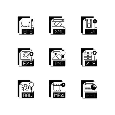 File formats black linear icons set. Different types. Vector image, spreadsheet, video, executable, data files. Graphic software. Glyph contour symbols. Vector isolated outline illustrations 免版税图像 - 156137962