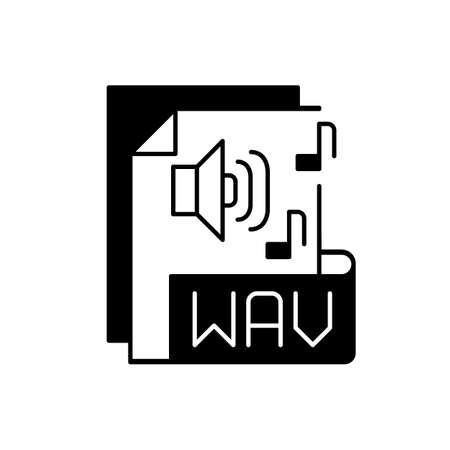 WAV file black linear icon. Waveform audio file format. Storing data in segments. Uncompressed lossless audio. Maximum quality music. Outline symbol on white space. Vector isolated illustration