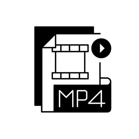 MP4 file black linear icon. Digital multimedia container format. Video, audio and text storing. MPEG-4. High quality video. Outline symbol on white space. Vector isolated illustration 矢量图像