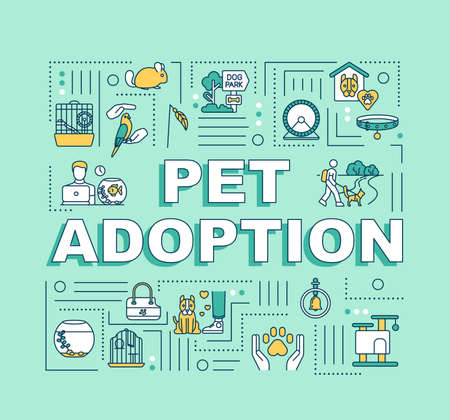 Pet adoption word concepts banner. Animal care and love. Human and animal relationship. Infographics with linear icons on mint background. Isolated typography. Vector outline RGB color illustration