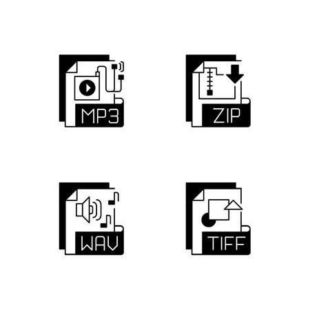 File types black linear icons set. MP3. ZIP. WAV. TIFF. Audio, compressed, text files. Storing music. Raster graphics images. Glyph contour symbols. Vector isolated outline illustrations 矢量图像