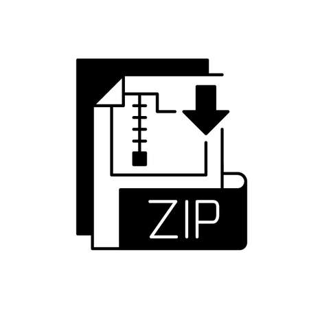 ZIP file black linear icon. Lossless-compression binary file format. Encryption, packaging, file management. Zip compression algorithm. Outline symbol on white space. Vector isolated illustration 矢量图像