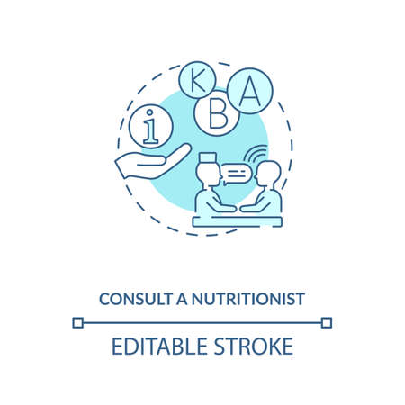 Consultation with nutritionist concept icon. Adequate vitamins intake idea thin line illustration. Analyzing eating habits. Education. Vector isolated outline RGB color drawing. Editable stroke