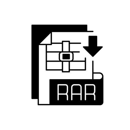 RAR file black linear icon. Archive file format. Data compression. Error recovery. File spanning. Archiver. Data container. Outline symbol on white space. Vector isolated illustration