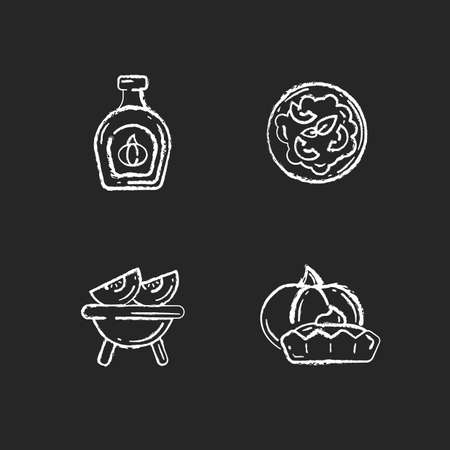 Homemade food chalk white icons set on black background. Roasted gourd, pumpkin risotto, tasty tartlet and syrup. Rustic cooking, traditional autumn dishes. Isolated vector chalkboard illustrations