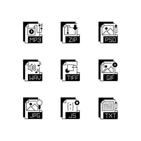 File formats black linear icons set. Various types. Audio, lossless compression, web, raster image, text files. Storing music. Glyph contour symbols. Vector isolated outline illustrations 免版税图像 - 156137881