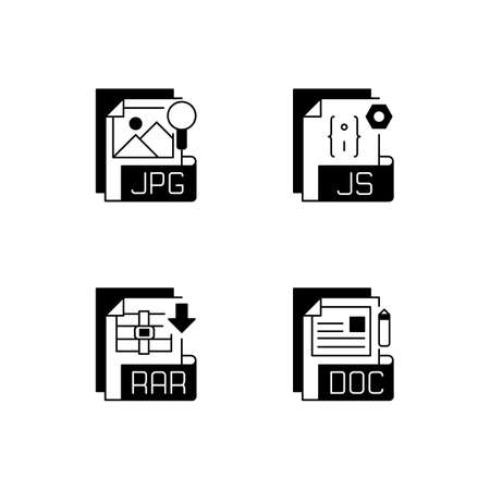 File types black linear icons set. JPG. JS. RAR. DOC. Text, raster image, web, compressed files. Digital images. Javascript source code. Glyph contour symbols. Vector isolated outline illustrations 矢量图像