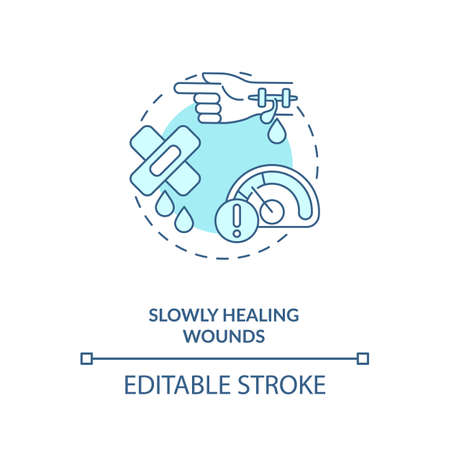 Slowly healing wounds concept icon. Vitamin shortages symptom idea thin line illustration. Protein, collagen synthesis. Skin cell production. Vector isolated outline RGB color drawing. Editable stroke Illustration
