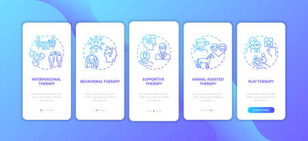 Psychotherapy different kinds onboarding mobile app page screen with concepts. Interpersonal, play therapy walkthrough 5 steps graphic instructions. UI vector template with RGB color illustrations
