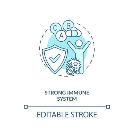 Strong immune system concept icon. Probiotics benefits idea thin line illustration. Healthcare. Natural antibodies production. Vector isolated outline RGB color drawing. Editable stroke Vettoriali