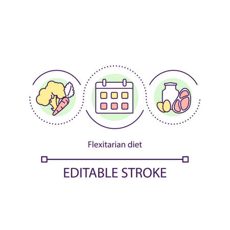 Flexitarian diet concept icon. Different types of diets. Healthy eating. Vegetarian lifestyle idea thin line illustration. Vector isolated outline RGB color drawing. Editable stroke