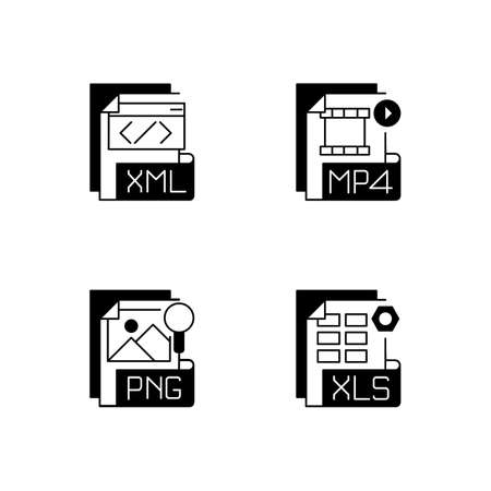 File types black linear icons set. XML. MP4. PNG. XLS. Spreadsheet, data, video, raster image files. Extensible markup language. Glyph contour symbols. Vector isolated outline illustrations