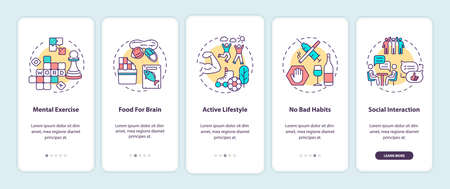 Brain health care onboarding mobile app page screen with concepts. Active lifestyle. Healthy living walkthrough 5 steps graphic instructions. UI vector template with RGB color illustrations