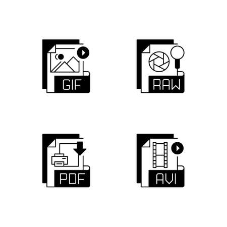 File types black linear icons set. GIF. RAW. PDF. AVI. Video, raster image, page layout files. Filename extensions. Lossless format. Glyph contour symbols. Vector isolated outline illustrations 矢量图像