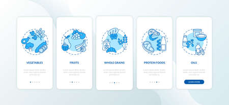 Vegetarian diet components onboarding mobile app page screen with concepts. Healthy cooking ingredients ideas walkthrough 5 steps graphic instructions. UI vector template with RGB color illustration