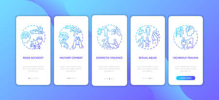 Posttraumatic stress reasons onboarding mobile app page screen with concepts. Military combat, sexual abuse walkthrough 5 steps graphic instructions. UI vector template with RGB color illustrations Illusztráció