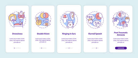 Head trauma onboarding mobile app page screen with concepts. Problem after injury. Brain health care walkthrough 5 steps graphic instructions. UI vector template with RGB color illustrations Illusztráció