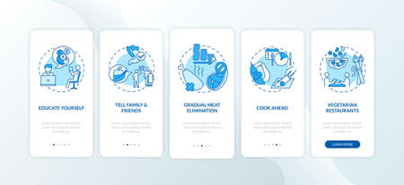 Becoming a vegetarian tips onboarding mobile app page screen with concepts. Way to becoming healthy eater walkthrough 5 steps graphic instructions. UI vector template with RGB color illustrations