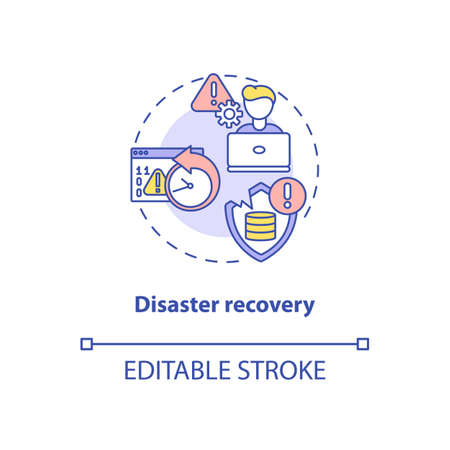 Disaster recovery concept icon. Security parameter idea thin line illustration. Disruptions prevention in business functions. Software tool. Vector isolated outline RGB color drawing. Editable stroke