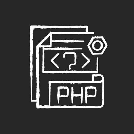 PHP file chalk white icon on black background. Source code file. Hypertext Preprocessor code. Webpage files. String, integer, floating point number. Isolated vector chalkboard illustration