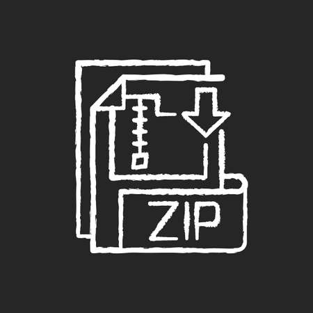 ZIP file chalk white icon on black background. Lossless-compression binary file format. Encryption, packaging, file management. Zip compression algorithm. Isolated vector chalkboard illustration