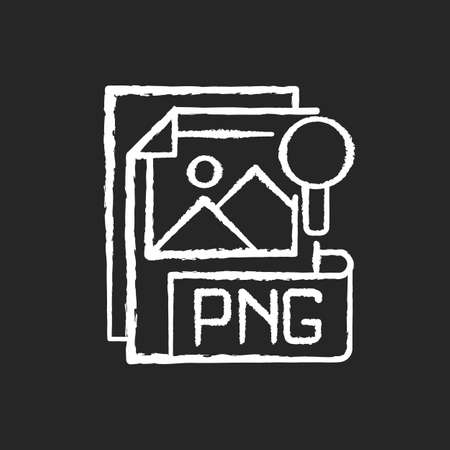 PNG file chalk white icon on black background. Portable graphics format. Palette-based, grayscale images support. Lossless data compression format. Isolated vector chalkboard illustration