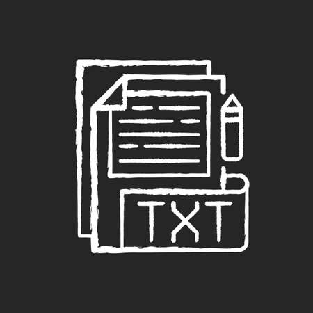 TXT file chalk white icon on black background. File extension. Simple text editors. Information storing. Plain text without special formatting. Isolated vector chalkboard illustration 矢量图像