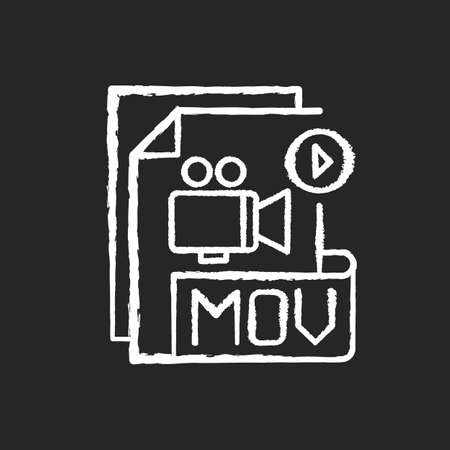 MOV file chalk white icon on black background. MPEG-4 multimedia container file format. Videoplayer. Video data storing. Audio, timecode. Compression algorithm. Isolated vector chalkboard illustration