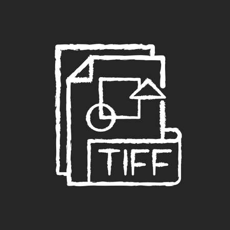 TIFF file chalk white icon on black background. Tagged image file format. TIF. Lossless compression. Image integrity and clarity. Professional photography. Isolated vector chalkboard illustration