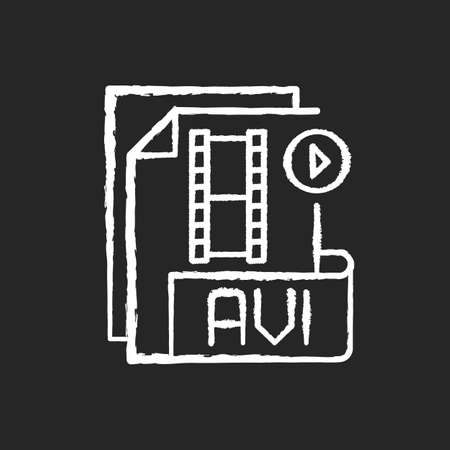 AVI file chalk white icon on black background. Audio video interleave. Filename extension. Audio and video data. Multimedia container format. High quality. Isolated vector chalkboard illustration 矢量图像