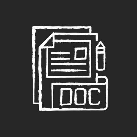 DOC file chalk white icon on black background. Document file format. Word processing software. Formatted text, images, tables, charts. Filename extension. Isolated vector chalkboard illustration 免版税图像 - 156214336