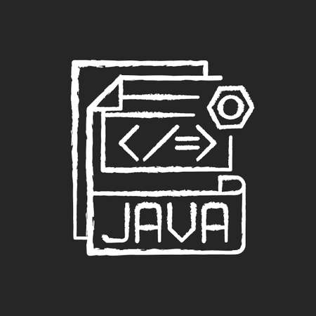 JAVA file chalk white icon on black background. Source code file. Java programming language. Filename extension. Lossless data compression, archiving. Isolated vector chalkboard illustration