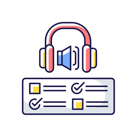 Listening examination RGB color icon. Comprehension practice tests. School and university education. Improve listening skills. Isolated vector illustration
