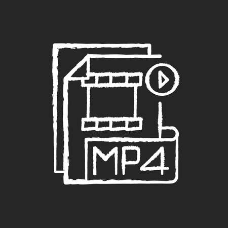 MP4 file chalk white icon on black background. Digital multimedia container format. Video, audio and text storing. MPEG-4. High quality video. Isolated vector chalkboard illustration