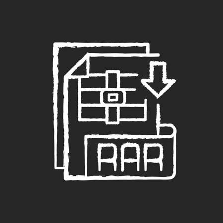 RAR file chalk white icon on black background. Archive file format. Data compression. Error recovery. File spanning. Archiver. Data container. Isolated vector chalkboard illustration 矢量图像