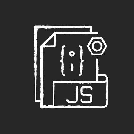 JS file chalk white icon on black background. Source code file format. Websites creation and development. Programming language. HTML code. Web pages. Isolated vector chalkboard illustration