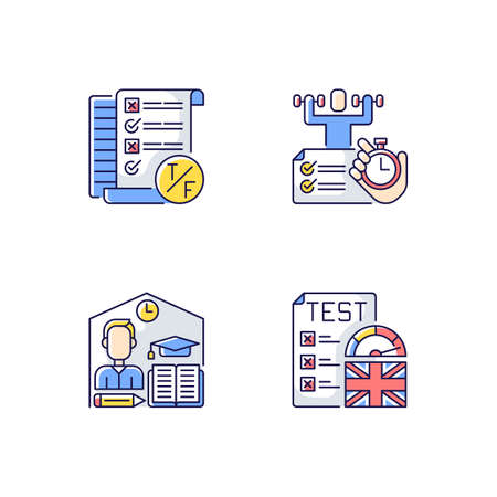 True false test RGB color icons set. Placement exam. Physical skills testing. Examination and education. Right answer. Isolated vector illustrations Ilustrace