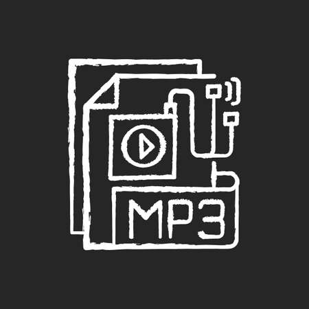 MP3 Audio file chalk white icon on black background. File extension. Downloading song. Storing music. Lecture, audiobook, podcast. Compressed audio format. Isolated vector chalkboard illustration