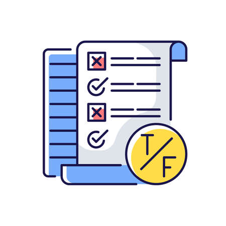 True false test RGB color icon. Short answer questioning. Knowledge check. Examination in school and inuversity. Isolated vector illustration