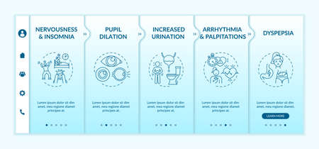 Energetics negative health effects onboarding vector template. Nervousness. Dyspepsia. Palpitations. Responsive mobile website with icons. Webpage walkthrough step screens. RGB color concept 向量圖像