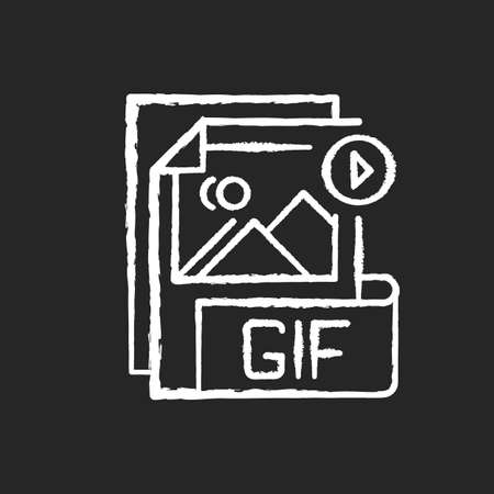 GIF file chalk white icon on black background. Graphic interchange format. Filename extension. Animated raster graphics file. Lossless format. Gif picture. Isolated vector chalkboard illustration