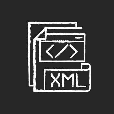 XML file chalk white icon on black background. Extensible markup language. Text editor. Storing and transport data. Conversion. Standard office file format. Isolated vector chalkboard illustration